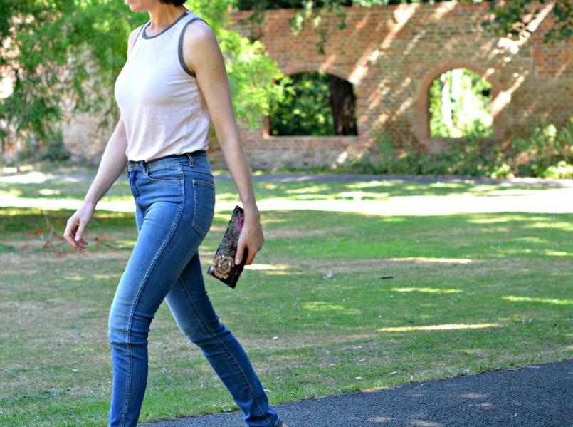 neuw denim skinny mid rise jeans maje vest top