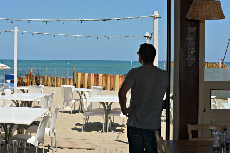 looking at the adriatic from gabbiano restaurant zadina   cesenatico   italy