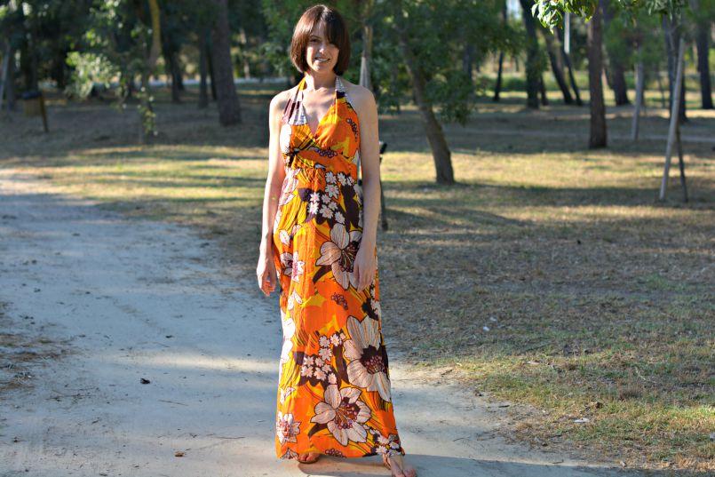 antik batik orange and brown halterneck maxi dress