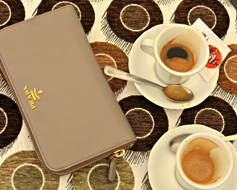 due caffe and prada wallet in italy