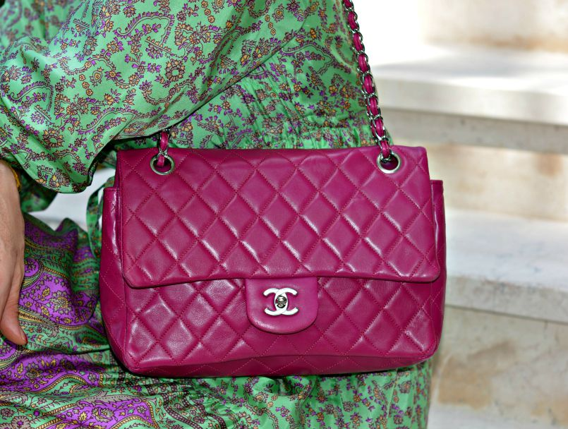 Chanel Pink Lambskin Flap bag with Silver Hardware