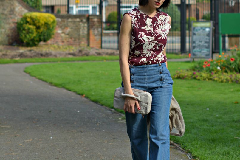 Zara Burgandy shell top | Isabel Marant Cardigan | Comptoir des Cotonniers Sailor wide leg jeans | Alexander Wang clutch | Nordstrom T-bar studded flats | Burgundy lips