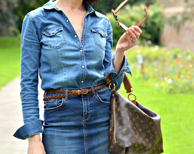 Denim shirt HandM | Denim pencil skirt River Island | Plaited tan leather skinny belt | Louis Vuitton Sully bag