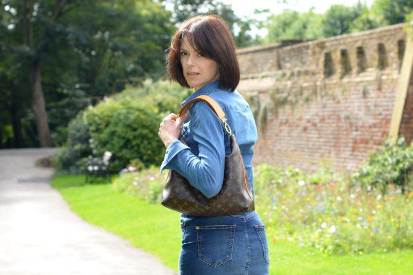 Denim pencil skirt | Denim shirt | Louis Vuitton Sully bag