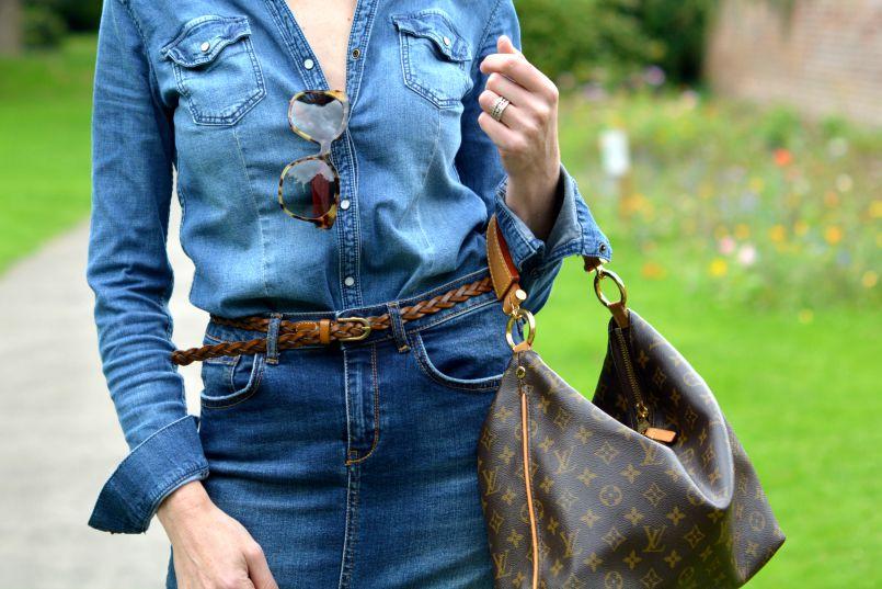 Denim shirt H&M | Denim pencil skirt River Island | Plaited tan leather skinny belt | Louis Vuitton Sully bag | Prada Tortoiseshell sunglasses
