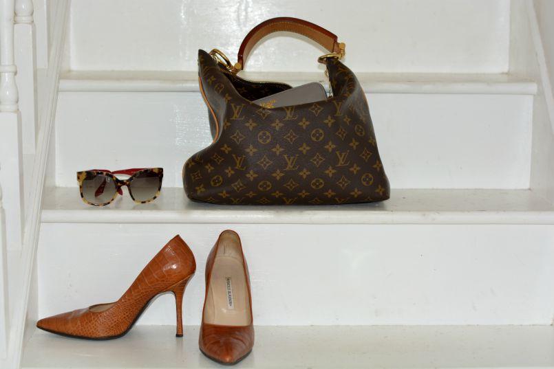 Louis Vuitton Sully bag | Prada wallet | Prada tortoiseshell sunnies | Manolo Blahnik crocodile pumps