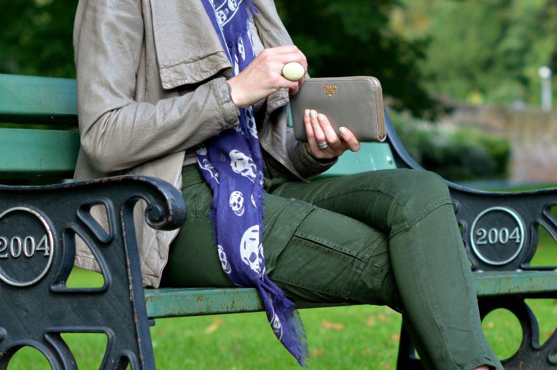 Prada Taupe wallet | Prada Taupe bag | All Saints Taupe Kadian leather jacket | alexander McQueen Skull purple scarf