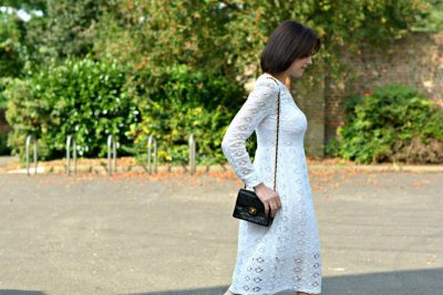 Zara white broderie anglaise dress | Chanel 2.55 mini | Office leopard ankle strap ballet flats