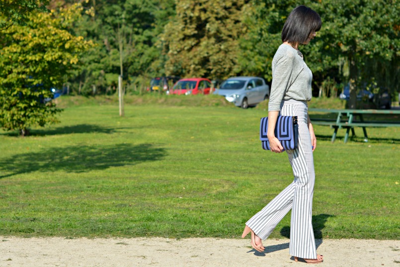 Acne striped trousers | Acne linen grandpa top | Anya Hindmarch clutch | Vintage silver statement necklace | Melissa shoes