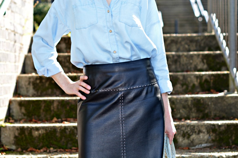 Whistles black leather skirt | HandM chambray shirt | Office leopard print ballet flats | Balenciaga Part Time Blue GSH