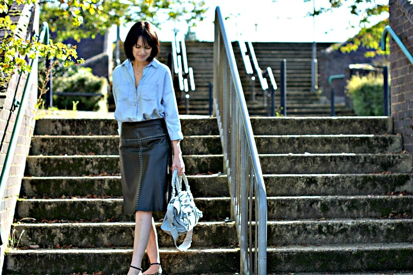 Whistles black leather skirt | H&M chambray shirt | Office leopard print ballet flats