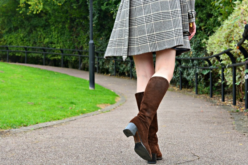 Reiss wool check belted coat | Brown suede knee high boots