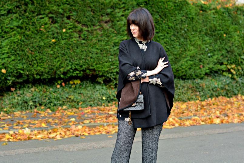 Zara wool trousers   Topshop black playsuit romper   Chanel mini 2.55 bag   Black Wool wrap   OPI Lincoln Park at Midnight