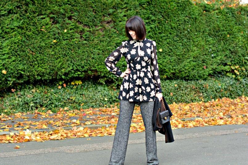 Zara wool trousers | Topshop black playsuit romper | Chanel mini 2.55 bag | Black Wool wrap | LKBennett black pumps