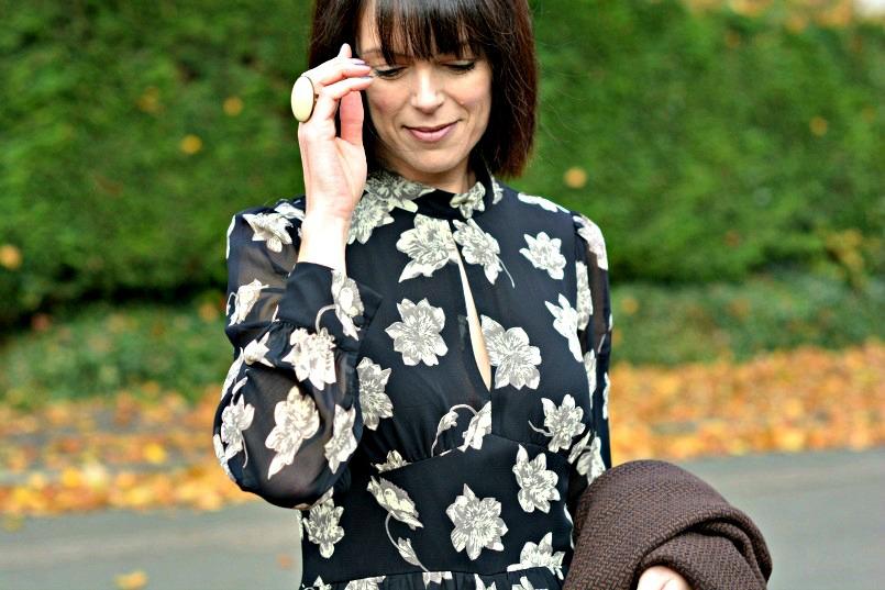 Topshop black floral playsuit/romper   Isabel Marant cocktail ring