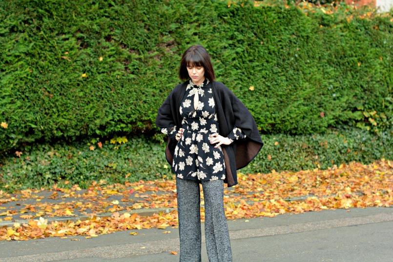 Zara wool trousers   Topshop black playsuit romper   Chanel mini 2.55 bag   Black Wool wrap   Banana Republic black pumps