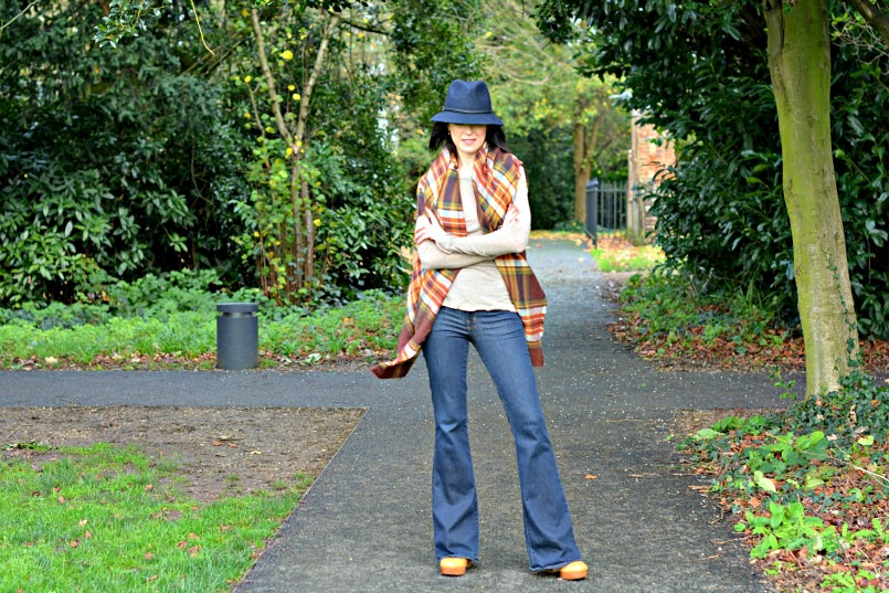 Laura Ashley reds and browns check wrap | J Brand jeans flares | Laura Ashley navy blue fedora hat | Marc by Marc Jacobs tan wedge heel 70s shoes