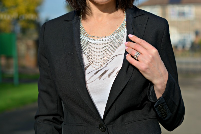 Whistles black blazer | Eternal Collection diamonte bib necklace | Markus Lupfer Muse t-shirt