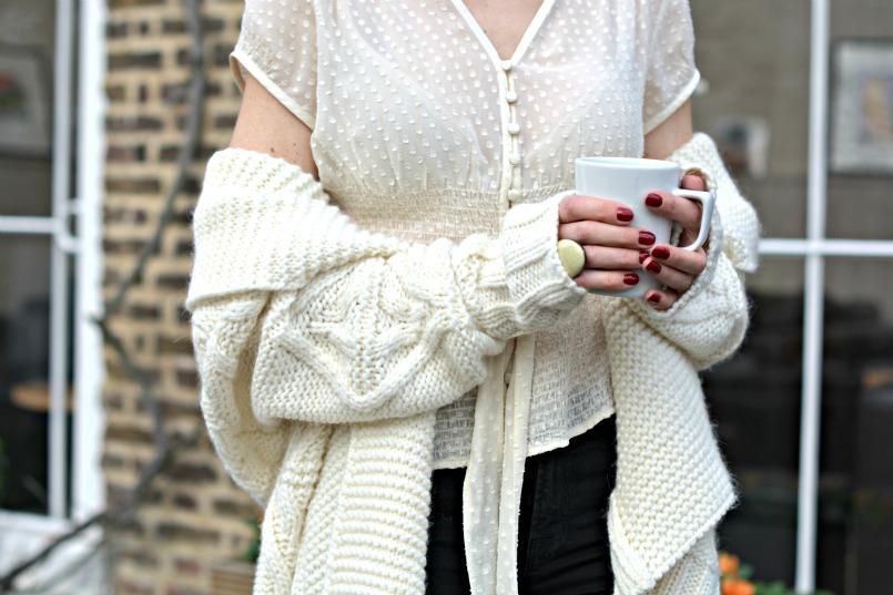 b2d2db65b0 Gharani Strok cream cable knit belted cardigan