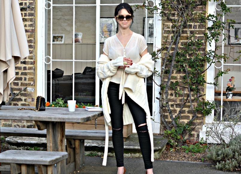 Gharani Strok cream cable knit belted cardigan   J Brand black ripped jeans   Prada tortoiseshell sunglasses   Coast cream chiffon top