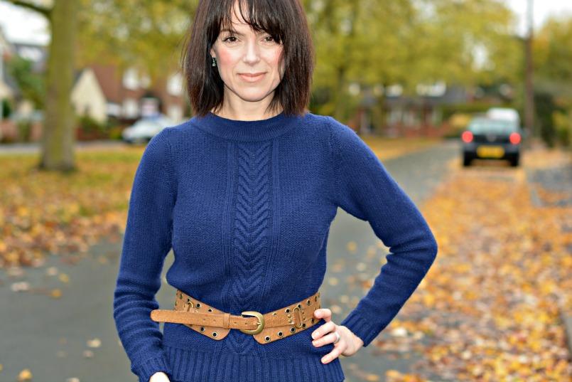 Dune tan ankle boots | Boden blue cable knit jumper | Marc Jacobs wool skirt | accessorise tan waist belt