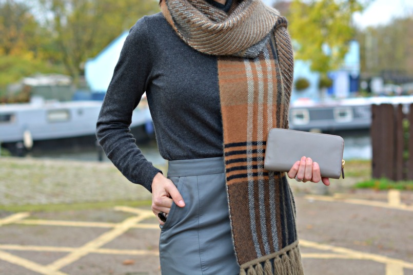 Boden cashmere mix grey polo neck jumper   Mulberry angora wool mix scarf   Urbacode London grey leather pencil skirt   Prada taupe saffano wallet