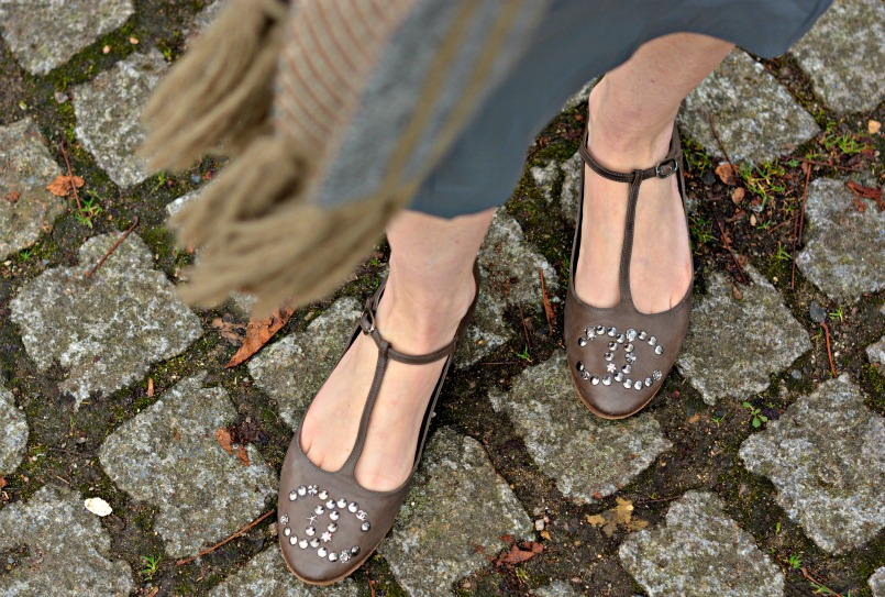 Chanel CC taupe t-bar ballet flats