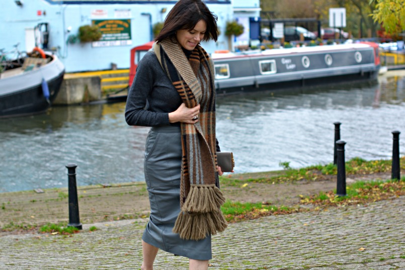 Boden cashmere mix grey polo neck jumper   Mulberry angora wool mix scarf   Urbacode London grey leather pencil skirt   Chanel taupe t-bar ballet flats   Prada taupe saffuano wallet