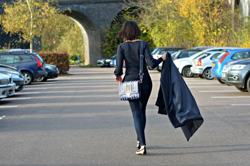 Maje dark navy coat | French Connection navy belted cardigan | Whistles super skinny stretch dark enim jeans | Anya Hindmarch cross body bag