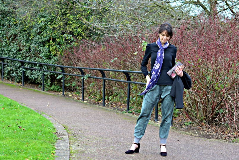 Aubin Wills black peplum top | Sign Copenhagen silk snake print harem pants | Raymond Castle black suede mary jane wedge shows | Alexander McQueen purple skull scarf | Whistles black blazer | Thrifted sequins clutch bag | Marks and Spencer black cocktail ring
