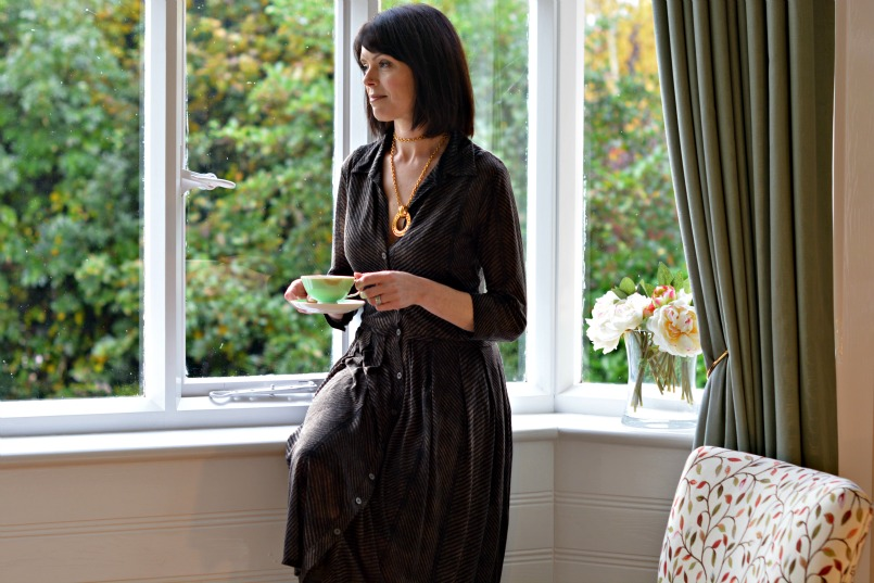 Ted and Muffy high knee high black boots | Samantha Sung Audrey dress | Chanel vintage gold necklace