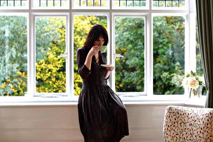 Samantha Sung Audrey dress | Chanel vintage gold necklace