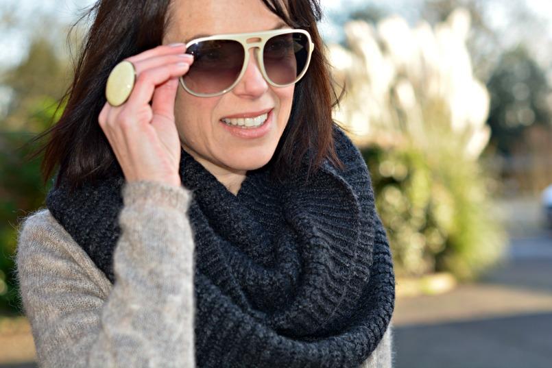 AllSaints grey wool snood | Isabel Marant ring | 3.1 Phillip Lim sunglasses
