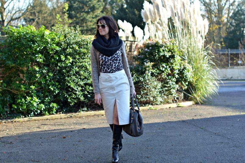 Acne studios skirt | Whistles leopard print jumper | Ted & Muffy knee high boots | Isabel Marant mohair cardigan |AllSaints snood | Prada deerskin bag | Isabel Marant ring