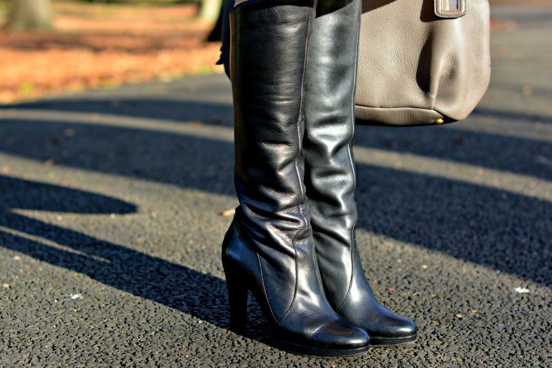 Ted & Muffy black knee high heel boots