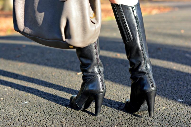 Ted & Muffy black knee high boots | Prada deerskin bag
