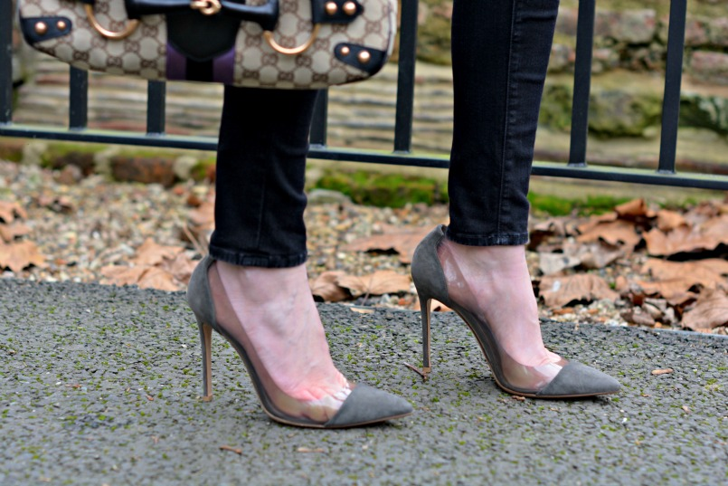 Gucci by Tom Ford ltd edition horsebit handbag | J brand black skinny jeans | Gianvito Rossi grey suede plexi pumps