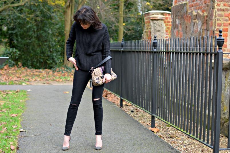 AllSaints funnel neck jumper | OPI dark purple nail varnish | Gucci by Tom Ford ltd edition horsebit handbag | J brand black skinny jeans | Gianvito Rossi grey suede plexi pumps