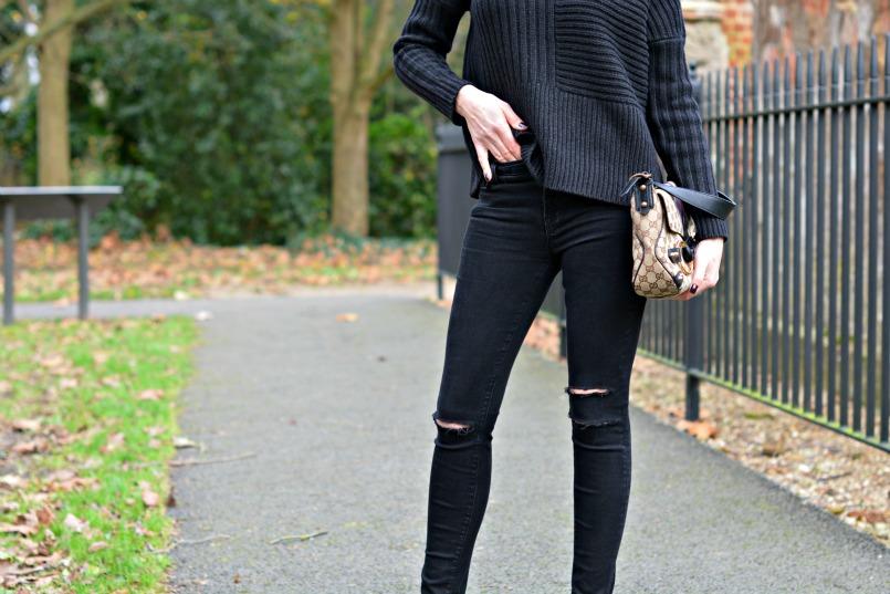 AllSaints funnel neck jumper | OPI dark purple nail varnish | Gucci by Tom Ford ltd edition horsebit handbag | J brand black skinny jeans