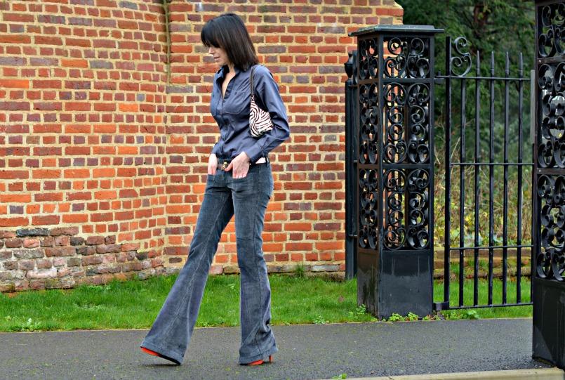 Gucci Grey corduroy flares | Thomas Pink grey fitted shirt | Whistles tangerine suede platform pumps | Prada zebra pony hair bag | Vintage silver belt