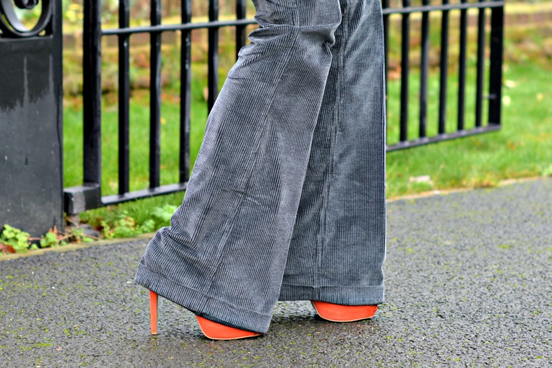 Gucci Grey corduroy flares | Thomas Pink grey fitted shirt | Whistles tangerine suede platform pumps
