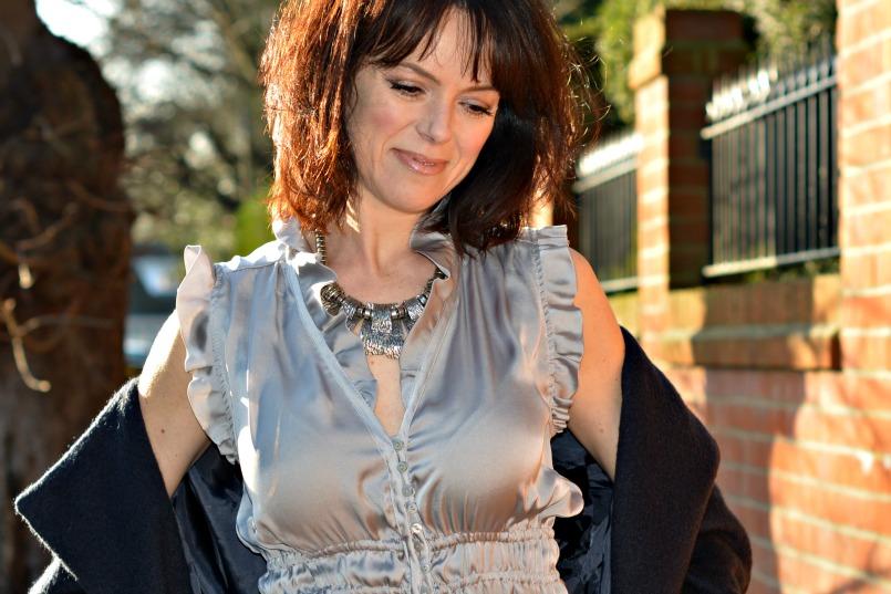 Zara silver ruched sleeveles top | Vintage full black leather midi skirt | Retro silver statement necklace | Maje midnight blue wool coat | 1930s Vintage beaded velvet bag