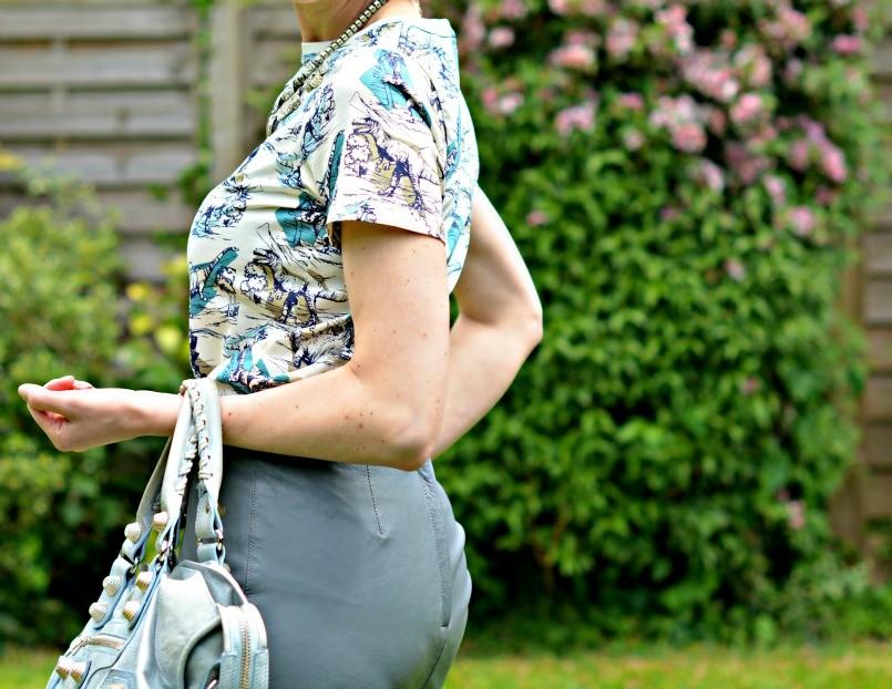 dino t-shirt | grey leather pencil skirt | balenciaga bag