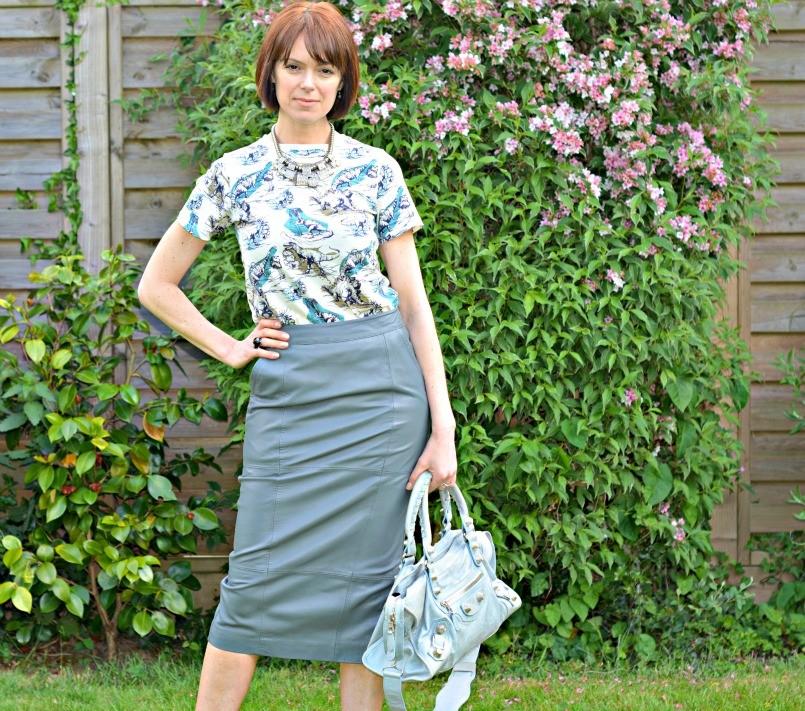 dino t-shirt | grey leather pencil skirt | balenciaga bag | lanvin shoes
