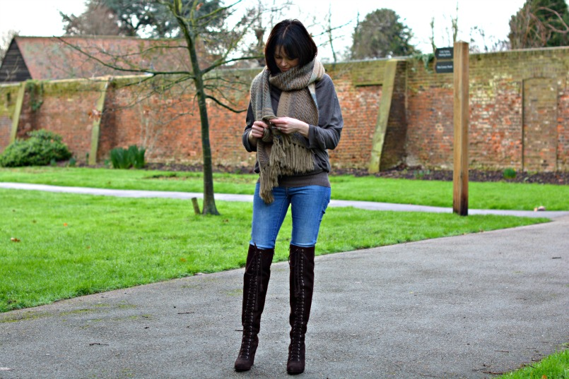 allsaints over the knee boots | Neuw Denim jeans | AllSaints Elgar jumper | Mulberry scarf