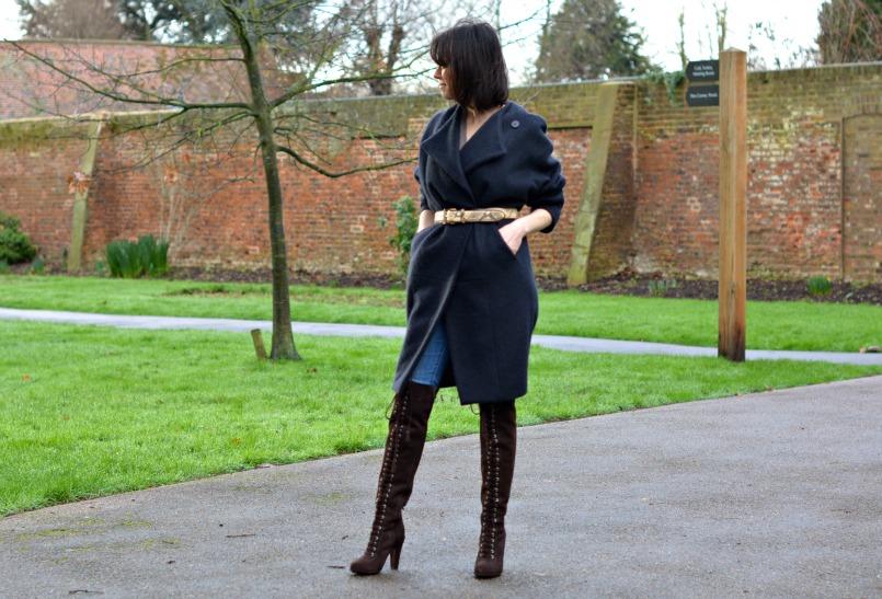 allsaints over the knee boots | Neuw Denim jeans | AllSaints Elgar jumper | Maje coat