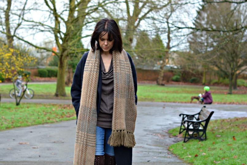 AllSaints over the knee boots | Neuw Denim jeans | AllSaints Elgar jumper | Mulberry scarf | Maje coat