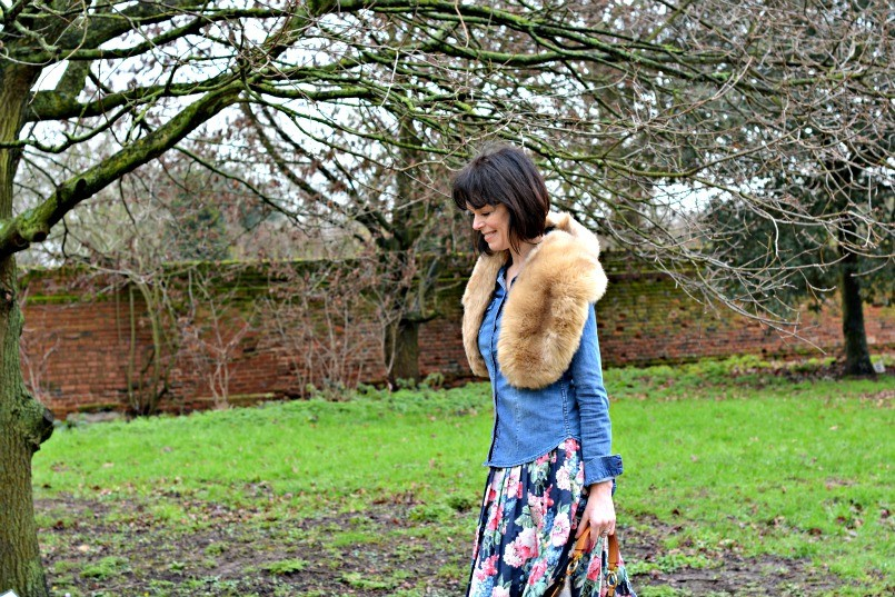 cath kidston bloomsbury floral dress with zara fur stole