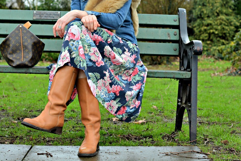 cath kidston bloomsbury floral dress with tan boots
