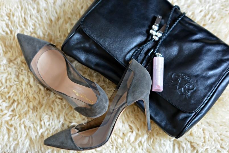 Gianvito Rossi plexi pumps | Raoul over-sized clutch | Dior lipstick